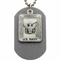 Fine Pewter  U.S. Navy Military Dog Tag with Saint Micahel on Back