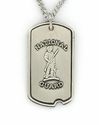 Sterling Silver U.S. National Guard Dog Tag with Cross On Back