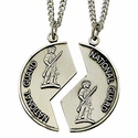 Sterling Silver National Guard Mizpah Medal with Genesis 31:48 on Back