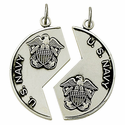 Sterling Silver Navy Mizpah Medal with Genesis 31:48 on Back