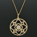 """1-1/2"""" Diameter Pave Crystal CZ Stones Gold Plated Pendant"""