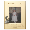 """5"""" x 7"""" First Holy Communion Gold Plated Metal Photo Frame with Kneeling Girl"""