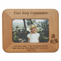 """8 1/2"""" x  6 1/2"""" First Holy Communion Laser Engraved Maple Wood Photo Frame"""