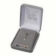 """Sterling Silver Multi Color CZ Crystal Cross on 18"""" silver chain"""