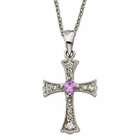 """Sterling Silver Flared CZ Crystal Cross with Amethyst Crystal Center on 18"""" silver chain"""