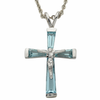 """Birthstone Sterling Silver March Crucifix on 18"""" chain"""