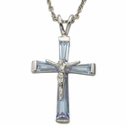 "Sterling Silver June Crucifix on 18"" chain"