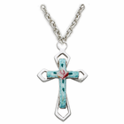 "Sterling Silver Enameld Cross With Rose Center on 18"" Silver Plated Chain"