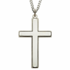"""Sterling Silver Cross Necklace with Our Father Prayer on back of Cross on 24"""" Chain"""