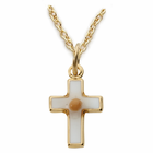 """14k gold filled baby cross with mustard seed inside 13"""" chain"""
