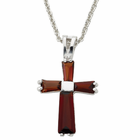 "Ladies Sterling Silver January Birthstone Cross on 18"" chain"