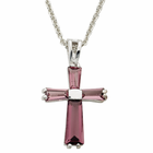 """Ladies Sterling Silver February Birthstone  Cross on 18"""" chain"""
