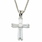 "Ladies Sterling Silver  April Birthstone  Cross on 18"" chain"