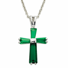 """Ladies Sterling Silver May Birthstone  Cross on 18"""" chain"""