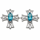 sterling silver cross post earrings with aqua crystal center