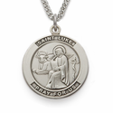 "St. Luke , Patron Of Doctors & Surgeons, Sterling Silver Engraved Medal on 24"" Chain"