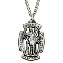 "Sterling Silver St. Florian Shield Medal, Patron of Fire Fighters on 24"" Chain"