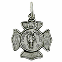 "Sterling Silver St. Florian Medal, Patron of Fire Fighters on 18"" Chain"