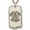Sterling Silver Military Dog Tags with Plain Back