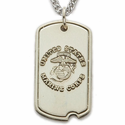 Sterling Silver U.S. Marines Dog Tag with Plain Back For Engraving