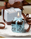 Blue and Brown Wedding Theme Candles Favors