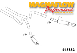 Magnaflow Magnapack 2.5 Inch Dual Exhaust System Part # 15883 for the 2005-2007 Mustang GT and 2007 Shelby GT500