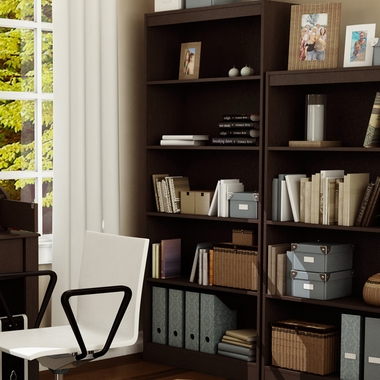 Endless Chocolate Smart Basics Shelf Bookcase by SouthShore - Click to enlarge