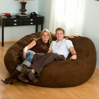 Espresso Suede Fuf 7 Ft XXL Bean Bag Chair by Comfort Research