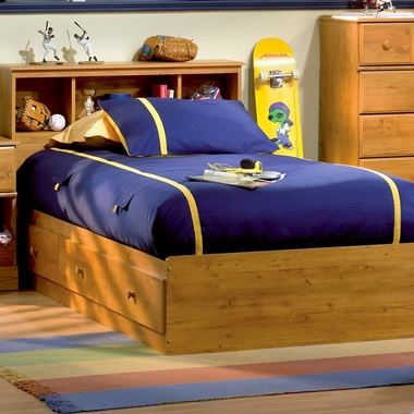 Country Pine Little Treasures Twin Bookcase Headboard and Twin Mates Bed by SouthShore