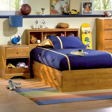 Country Pine Little Treasures 3 Piece Bedroom Set - Twin Bookcase Headboard, Twin Mates Bed and Nightstand by SouthShore