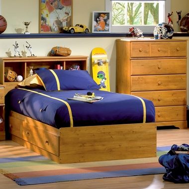 Country Pine Little Treasures 3 Piece Bedroom Set - Twin Bookcase Headboard, Twin Mates Bed and 5 Drawer Chest by SouthShore