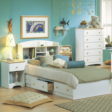 Pure White/Maple Newbury 4 Piece Bedroom Set - Twin Bookcase Headboard, Twin Mates Bed, 5 Drawer Chest and Nightstand by SouthShore