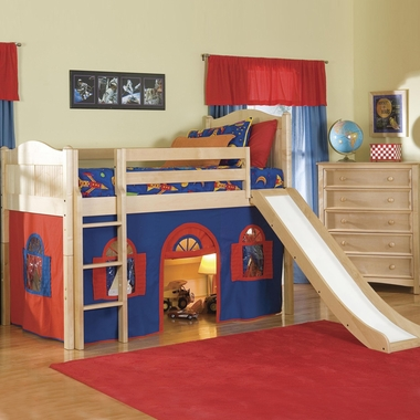 Natural Cottage Twin Low Loft Bed Bottom Curtain and Slide with Blue and Red Fabric by Bolton