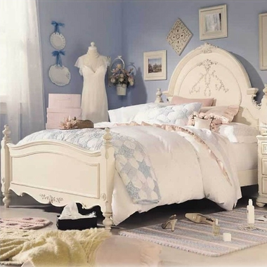 Antique White with Silver Tippings Jessica McClintock Romance Twin Panel Bed by Lea Industries