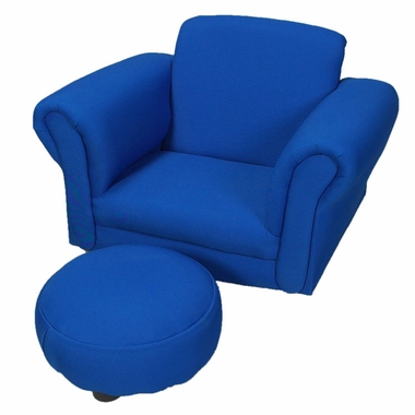 Blue Upholsetered Rocking Chair with Ottoman by Kids Korner - Click to enlarge