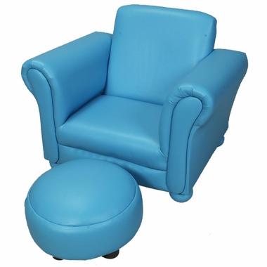 Blue Vinyl Upholstered Chair w/ Ottoman by Kids Korner