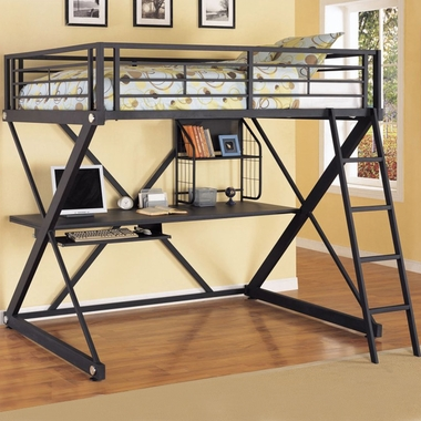 Textured Black with Silver Trim Z Bedroom Full Size Loft Study Bunk Bed by Powell Furniture