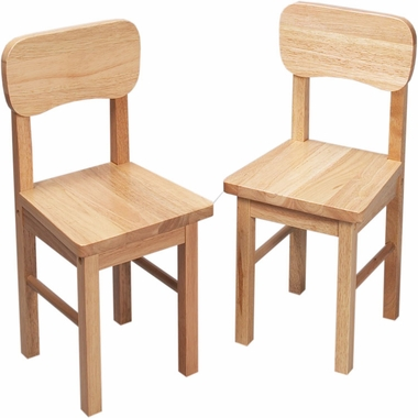 Natural Rounded Back Two Chair Set by Kids Korner - Click to enlarge
