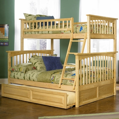 Natural Maple Bunk Bed Set - Columbia Twin Over Full Bunk Bed with Raised Panel Trundle Bed by Atlantic Furniture - Click to enlarge