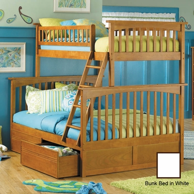White Bunk Bed Set - Columbia Twin Over Full Bunk Bed with Flat Panel Bed Drawers by Atlantic Furniture - Click to enlarge