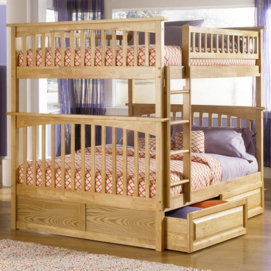 Natural Maple Bunk Bed Set - Columbia Full Over Full Bunk Bed with Raised Panel Bed Drawers by Atlantic Furniture - Click to enlarge