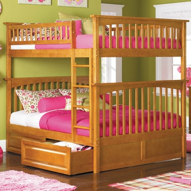 Caramel Latte Bunk Bed Set - Columbia Full Over Full Bunk Bed with Raised Panel Bed Drawers by Atlantic Furniture - Click to enlarge
