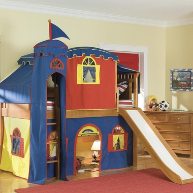 Honey Bennington Twin Low Loft Bed with Bottom Curtain, Tower, Top Tent, and Slide with Blue and Yellow Fabric by Bolton