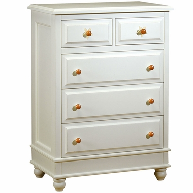 Distressed White Stars 5 Drawer Chest by Alligator - Click to enlarge