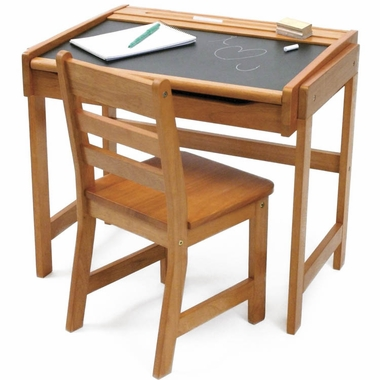 Lipper Desk with Chalkboard Top and Chair in Pecan