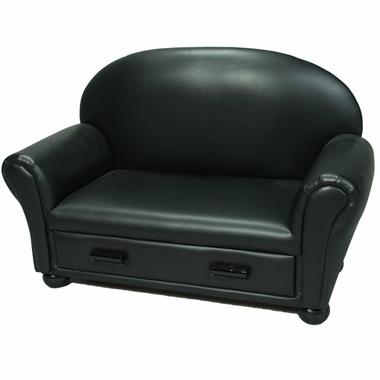 Black Vinyl Upholstered Chaise Lounge by Kids Korner - Click to enlarge
