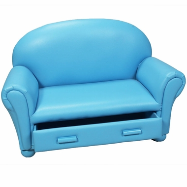 Blue Vinyl Upholstered Chaise Lounge by Kids Korner - Click to enlarge