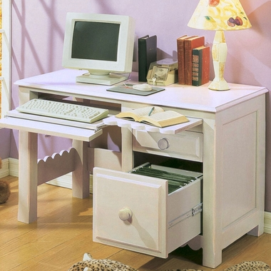 Alligator Scallop Desk in Distressed White - Click to enlarge
