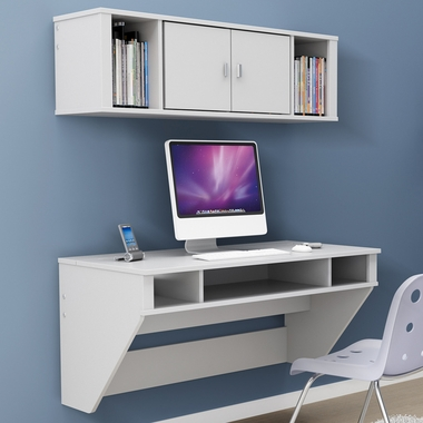 White Designer Floating Desk by Prepac - Click to enlarge