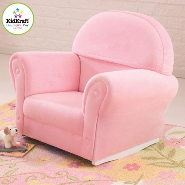 Pink Velour Upholstered Rocker with Slip Cover by KidKraft - Click to enlarge